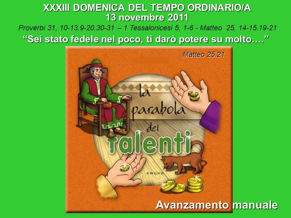 Avanzamento manuale XXXIII DOMENICA DEL TEMPO ORDINARIO/A