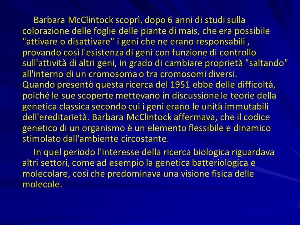 Barbara McClintock scoprì, dopo 6 anni di studi sulla colorazione delle foglie delle piante di mais, che era possibile attivare o disattivare i geni che ne erano responsabili , provando così l esistenza di geni con funzione di controllo sull attività di altri geni, in grado di cambiare proprietà saltando all interno di un cromosoma o tra cromosomi diversi. Quando presentò questa ricerca del 1951 ebbe delle difficoltà, poiché le sue scoperte mettevano in discussione le teorie della genetica classica secondo cui i geni erano le unità immutabili dell ereditarietà. Barbara McClintock affermava, che il codice genetico di un organismo è un elemento flessibile e dinamico stimolato dall ambiente circostante.