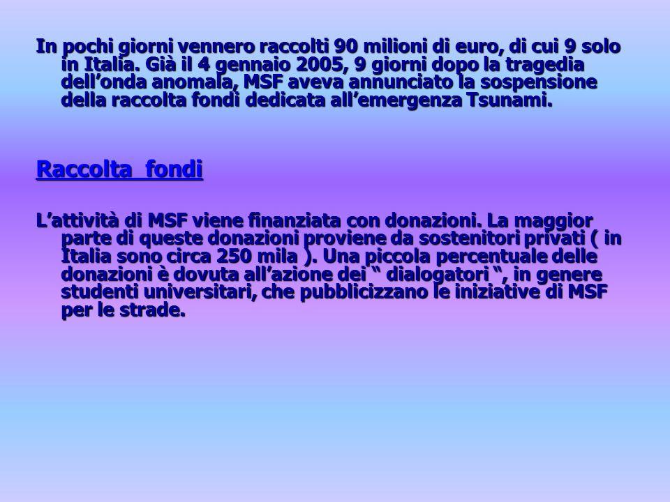 In pochi giorni vennero raccolti 90 milioni di euro, di cui 9 solo in Italia. Già il 4 gennaio 2005, 9 giorni dopo la tragedia dell'onda anomala, MSF aveva annunciato la sospensione della raccolta fondi dedicata all'emergenza Tsunami.