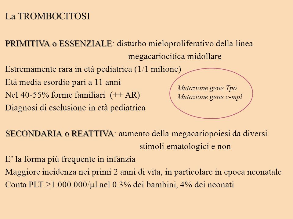 La TROMBOCITOSIPRIMITIVA o ESSENZIALE: disturbo mieloproliferativo della linea. megacariocitica midollare.