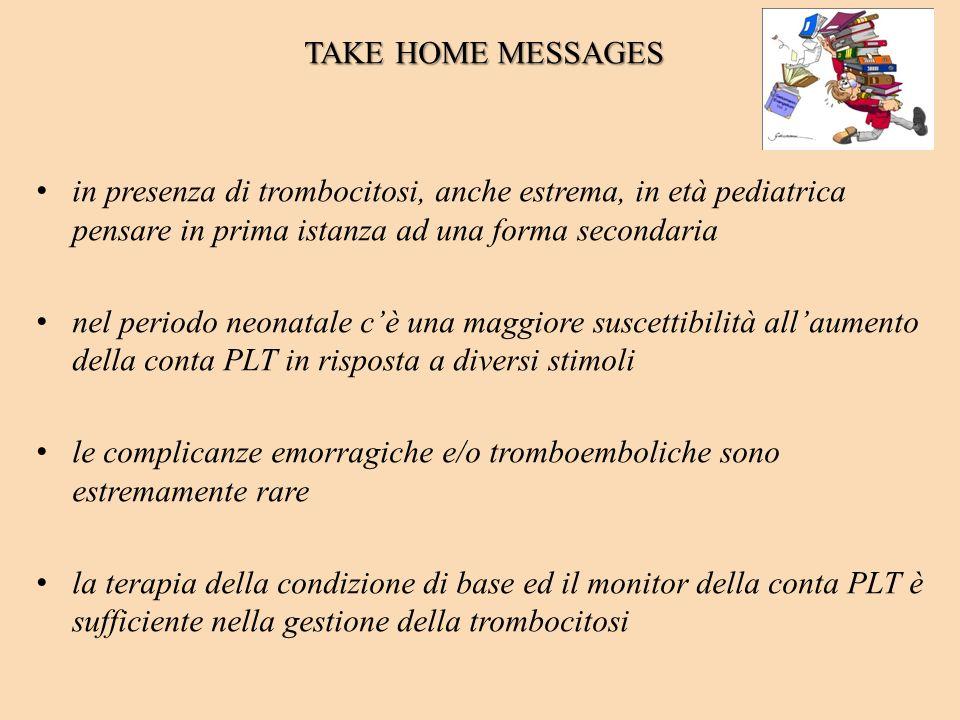 TAKE HOME MESSAGESin presenza di trombocitosi, anche estrema, in età pediatrica pensare in prima istanza ad una forma secondaria.