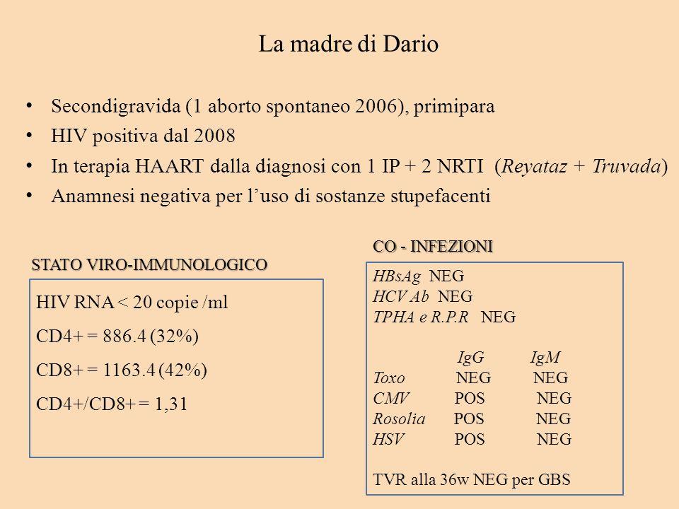 La madre di Dario Secondigravida (1 aborto spontaneo 2006), primipara