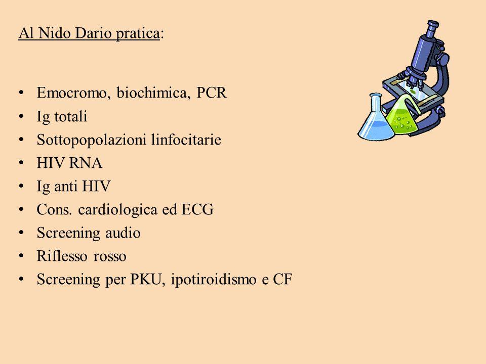 Al Nido Dario pratica:Emocromo, biochimica, PCR. Ig totali. Sottopopolazioni linfocitarie. HIV RNA.