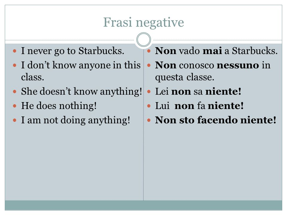 Frasi negative I never go to Starbucks.