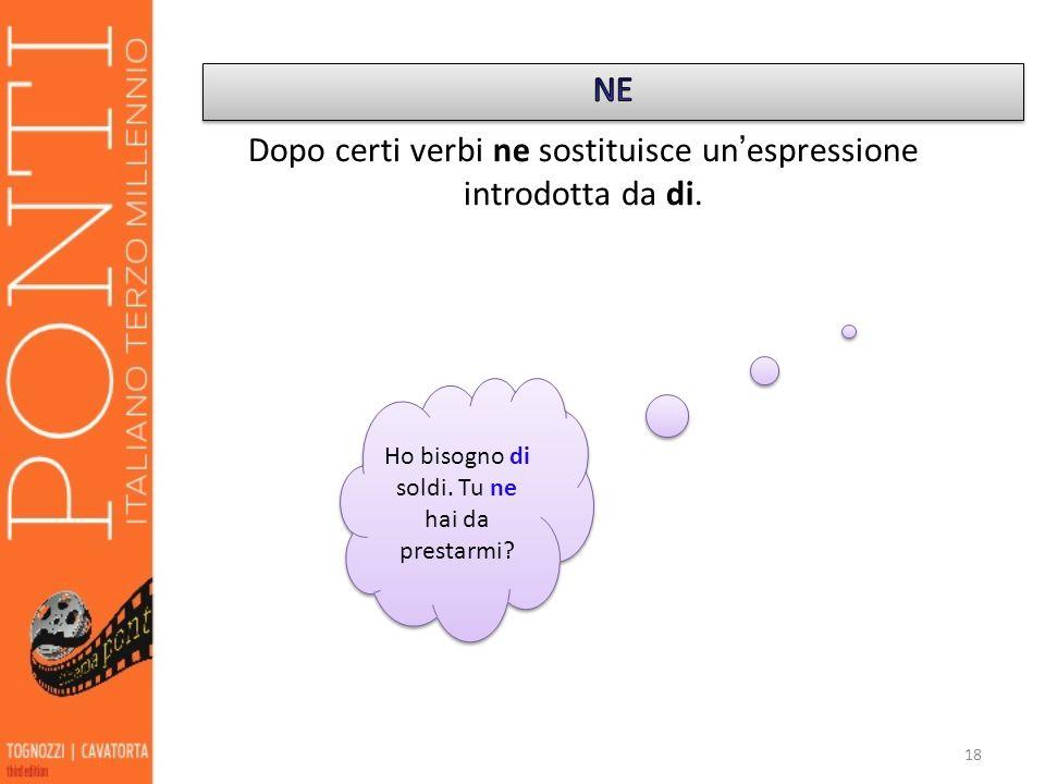 Dopo certi verbi ne sostituisce un'espressione introdotta da di.