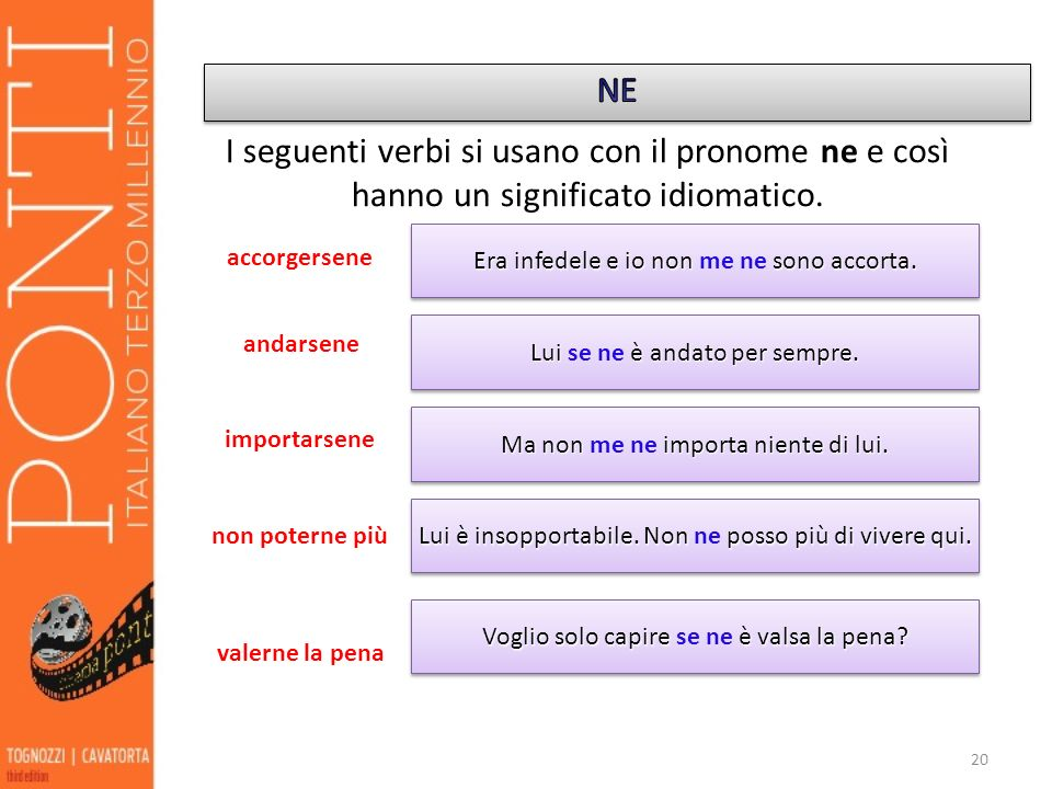 NE I seguenti verbi si usano con il pronome ne e così hanno un significato idiomatico. Era infedele e io non me ne sono accorta.