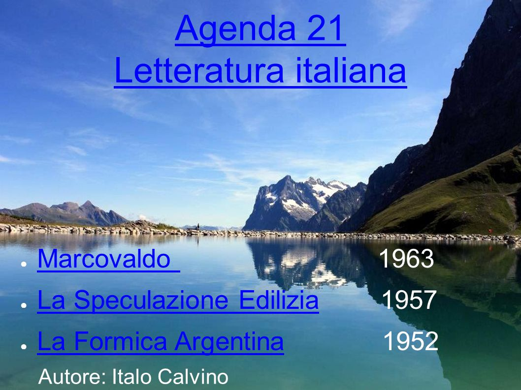 Agenda 21 Letteratura italiana