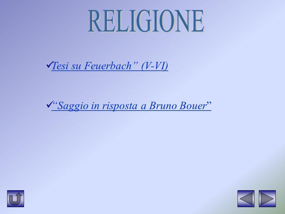 RELIGIONE Tesi su Feuerbach (V-VI) Saggio in risposta a Bruno Bouer