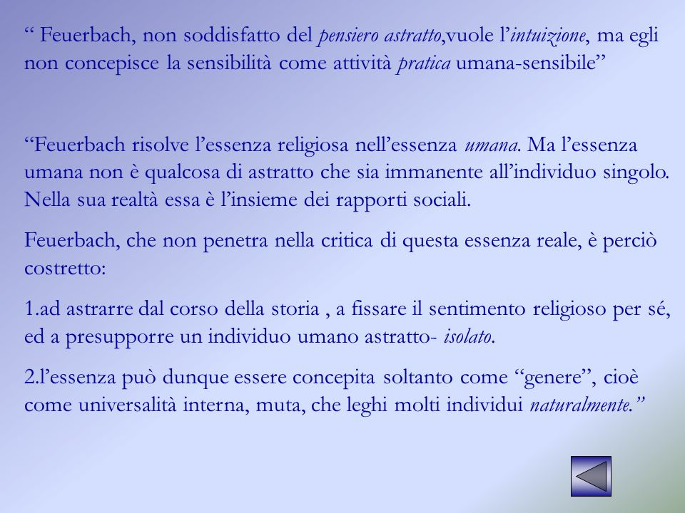 Feuerbach, non soddisfatto del pensiero astratto,vuole l'intuizione, ma egli non concepisce la sensibilità come attività pratica umana-sensibile