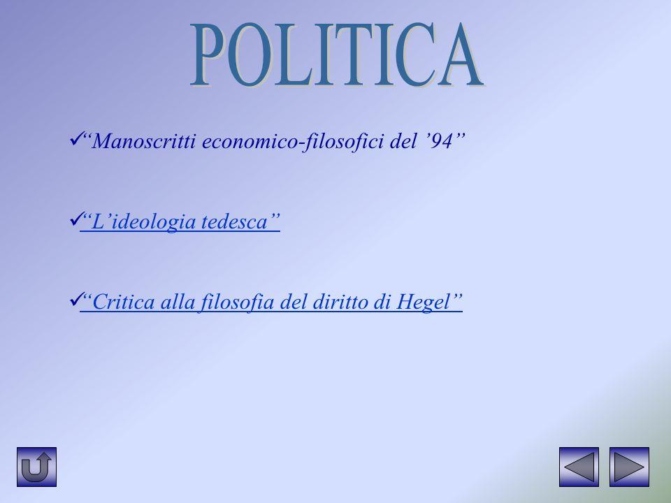 POLITICA Manoscritti economico-filosofici del '94