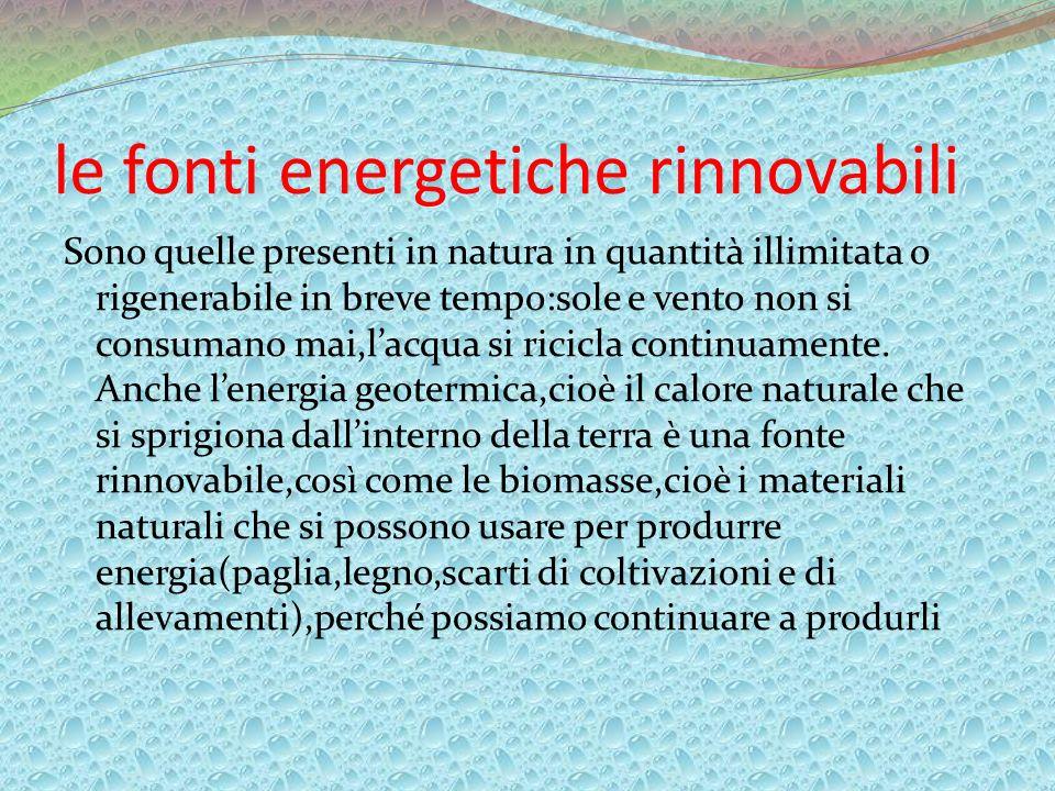 le fonti energetiche rinnovabili