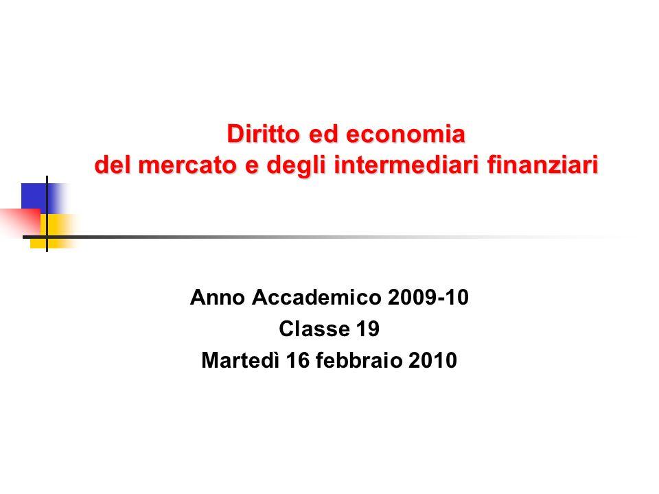 Diritto ed economia del mercato e degli intermediari finanziari