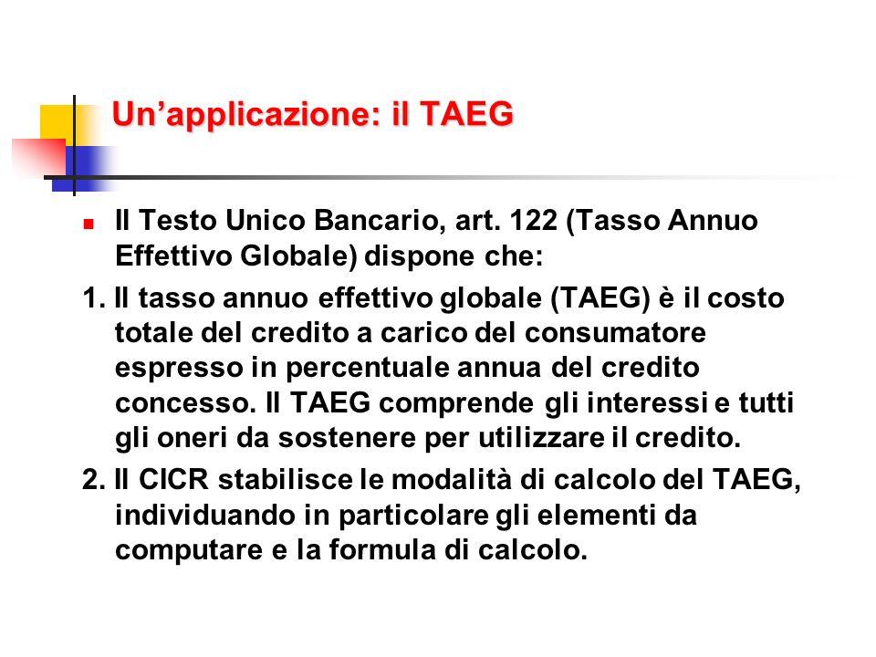 Un'applicazione: il TAEG
