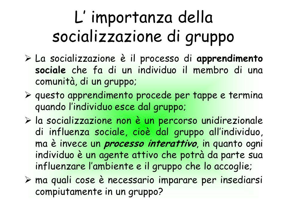 L' importanza della socializzazione di gruppo