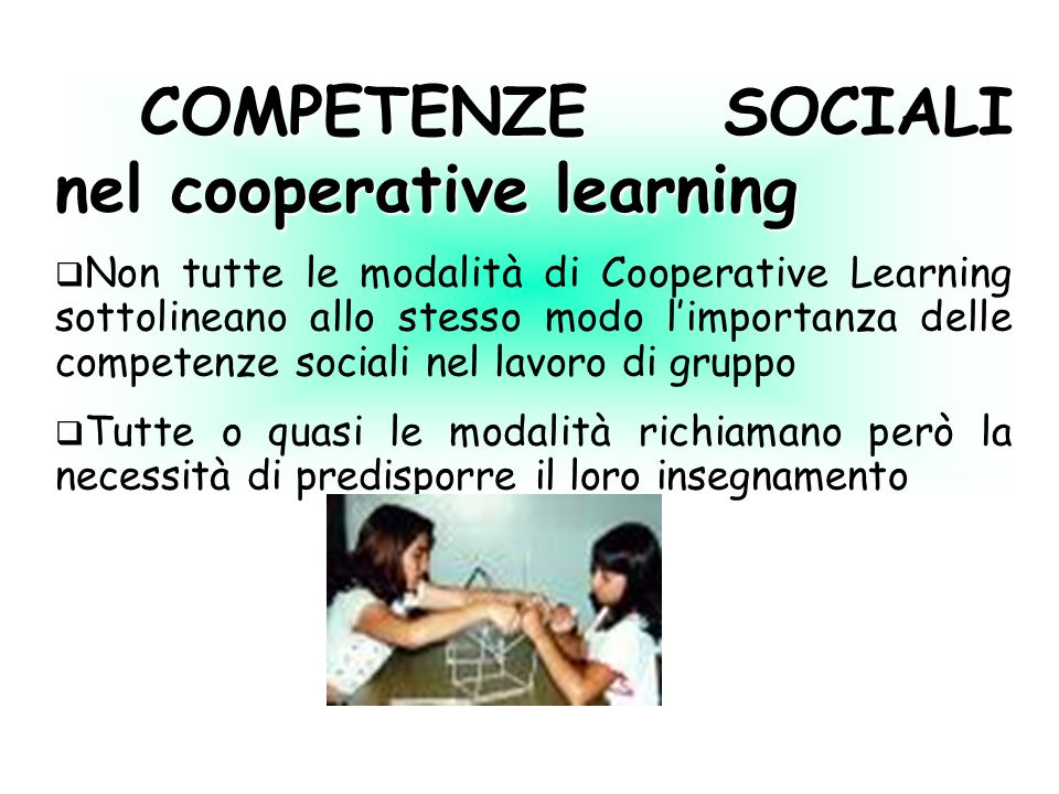 COMPETENZE SOCIALI nel cooperative learning
