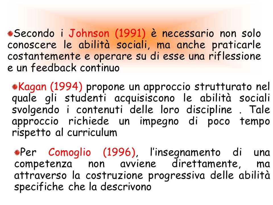 Secondo i Johnson (1991) è necessario non solo conoscere le abilità sociali, ma anche praticarle costantemente e operare su di esse una riflessione e un feedback continuo