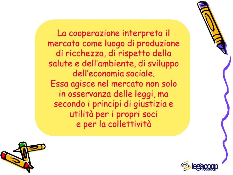 La cooperazione interpreta il mercato come luogo di produzione di ricchezza, di rispetto della salute e dell'ambiente, di sviluppo dell'economia sociale.