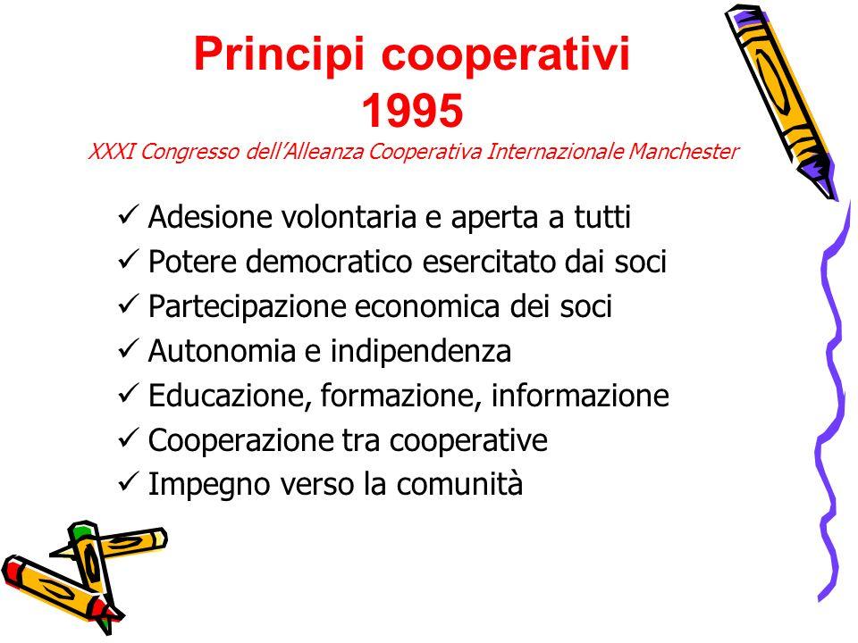 Principi cooperativi 1995 XXXI Congresso dell'Alleanza Cooperativa Internazionale Manchester