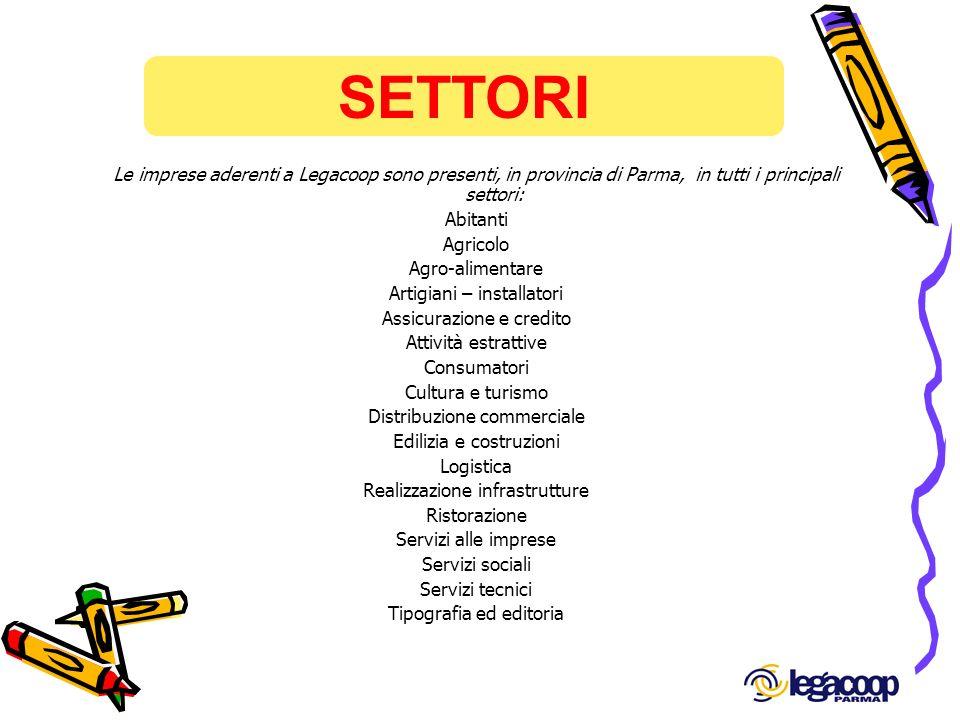 SETTORI Le imprese aderenti a Legacoop sono presenti, in provincia di Parma, in tutti i principali settori: