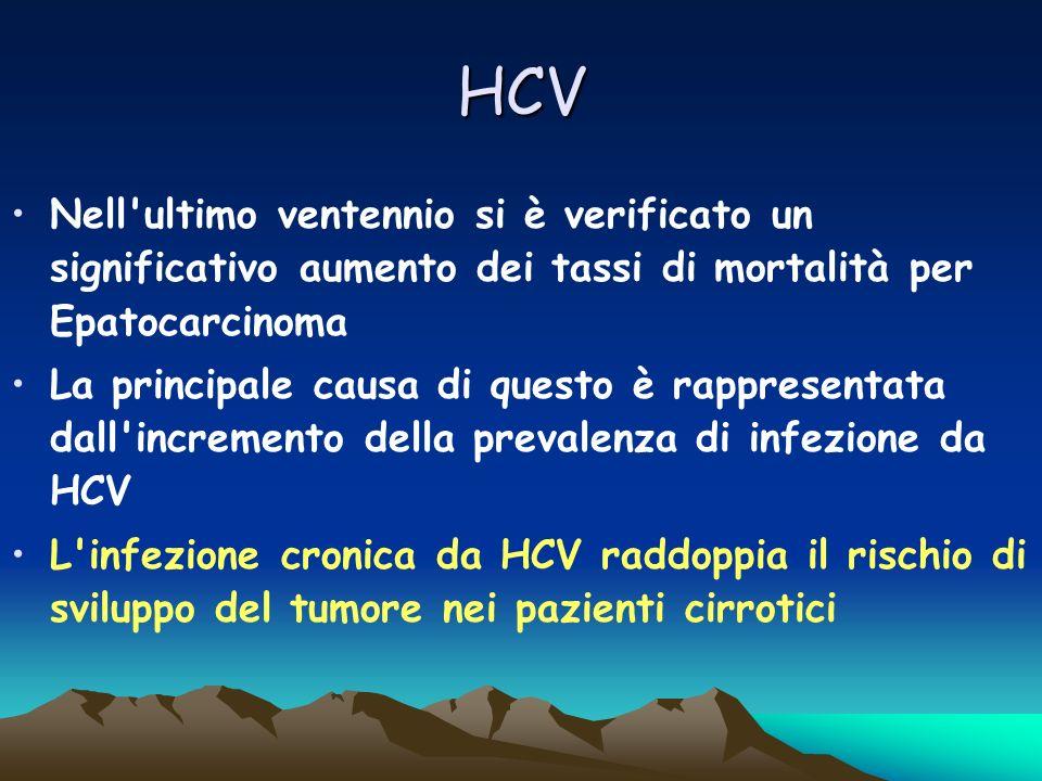 HCV Nell ultimo ventennio si è verificato un significativo aumento dei tassi di mortalità per Epatocarcinoma.