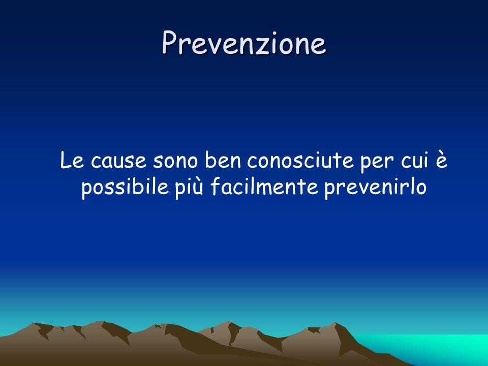 Prevenzione Le cause sono ben conosciute per cui è possibile più facilmente prevenirlo