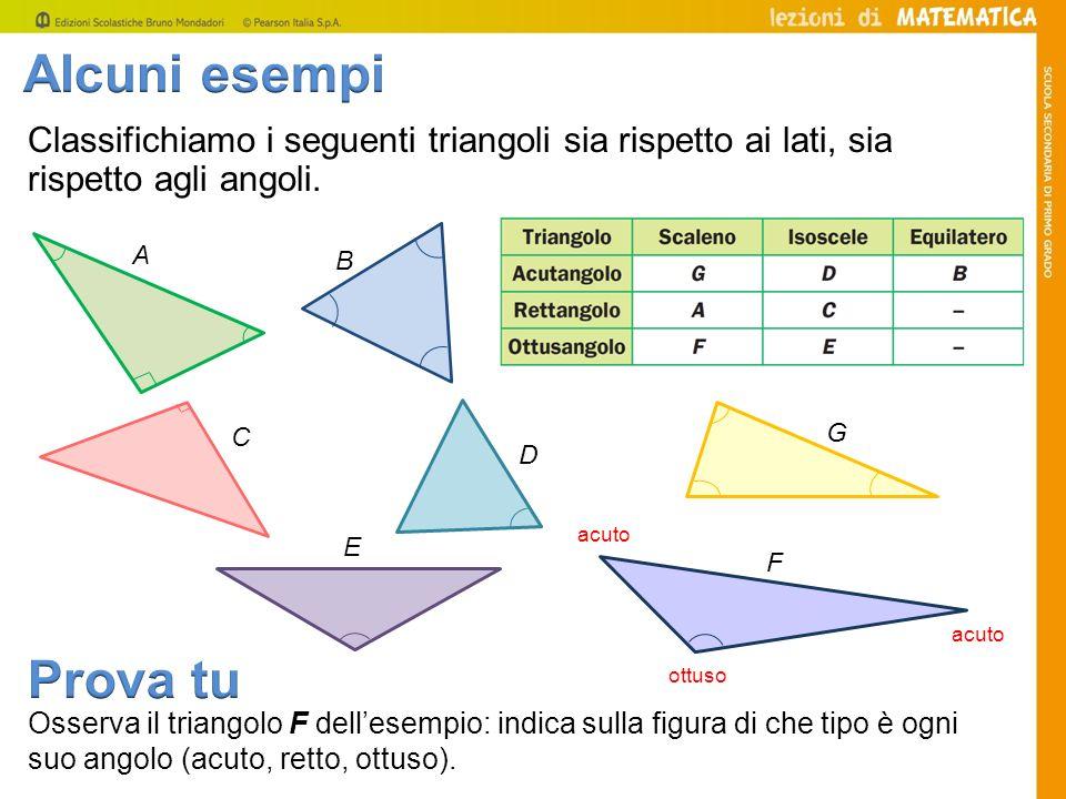Alcuni esempi Classifichiamo i seguenti triangoli sia rispetto ai lati, sia rispetto agli angoli. B.