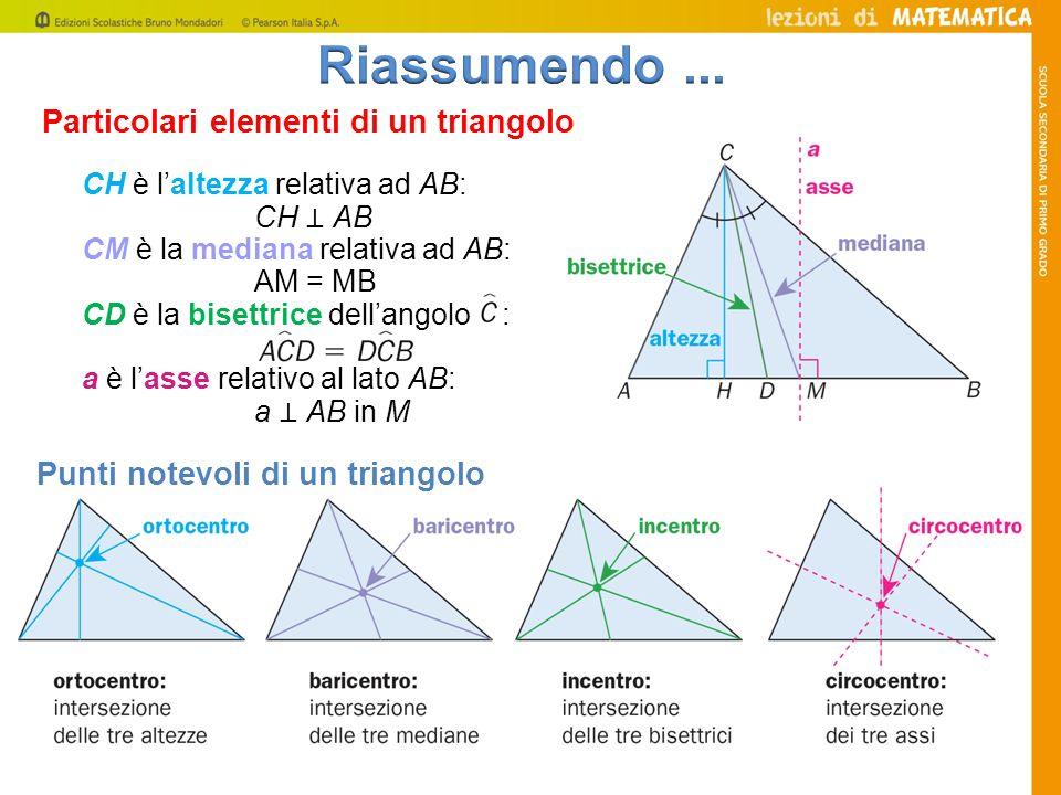 Riassumendo ... Particolari elementi di un triangolo