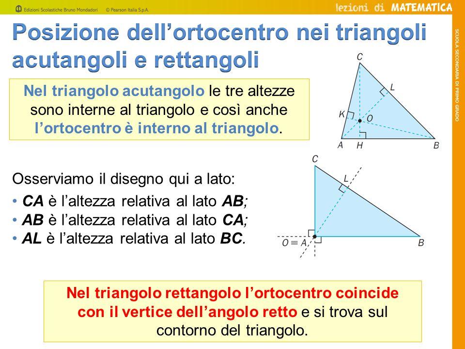 Posizione dell'ortocentro nei triangoli acutangoli e rettangoli
