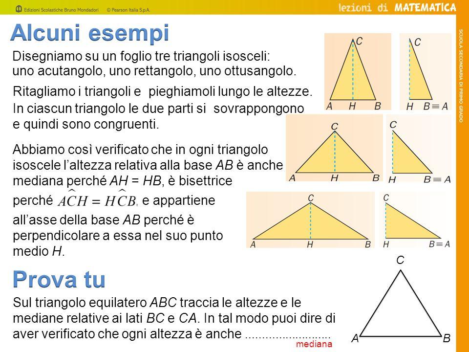Alcuni esempi Disegniamo su un foglio tre triangoli isosceli: uno acutangolo, uno rettangolo, uno ottusangolo.