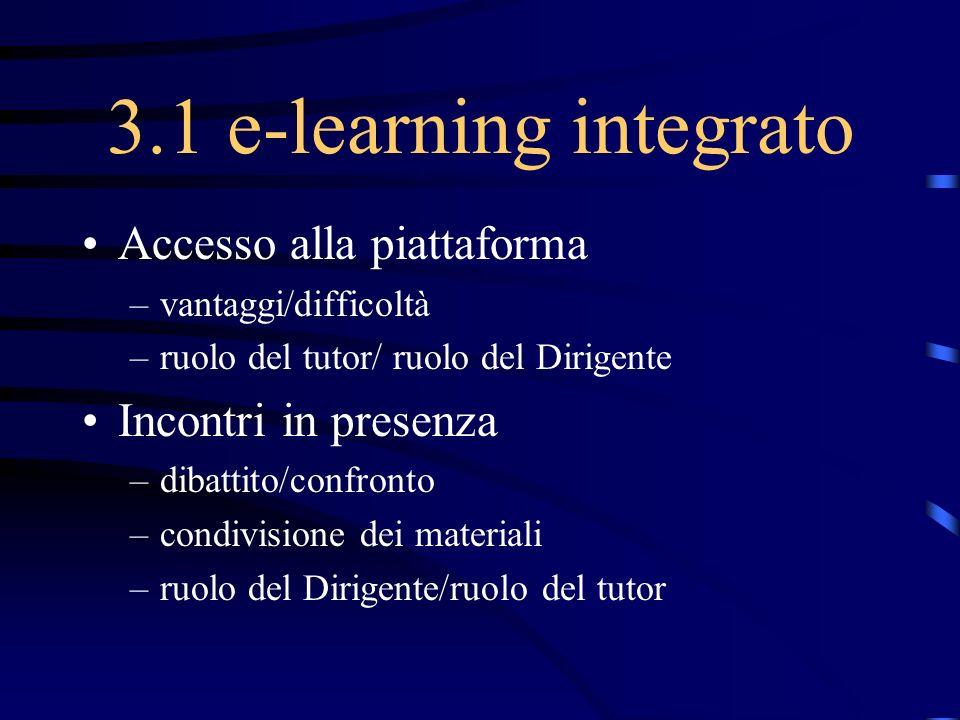 3.1 e-learning integrato Accesso alla piattaforma Incontri in presenza
