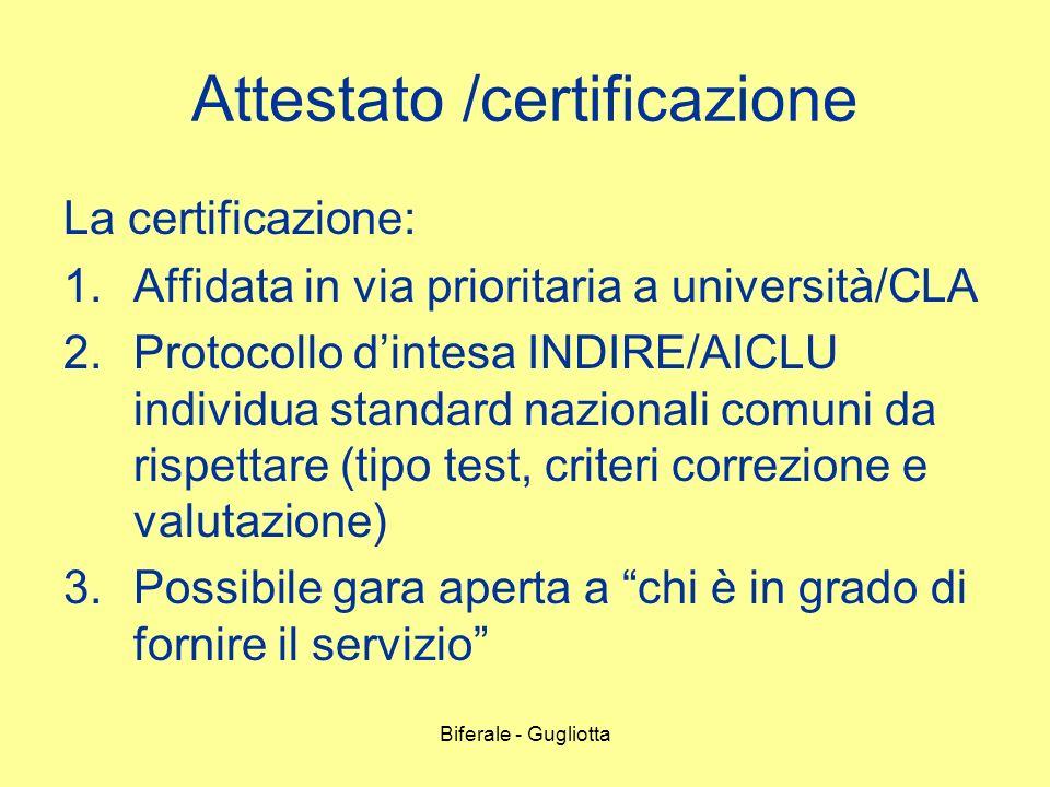 Attestato /certificazione