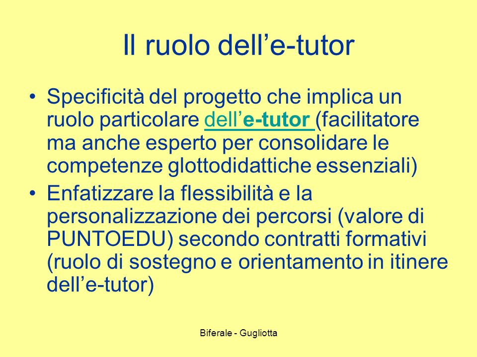 Il ruolo dell'e-tutor