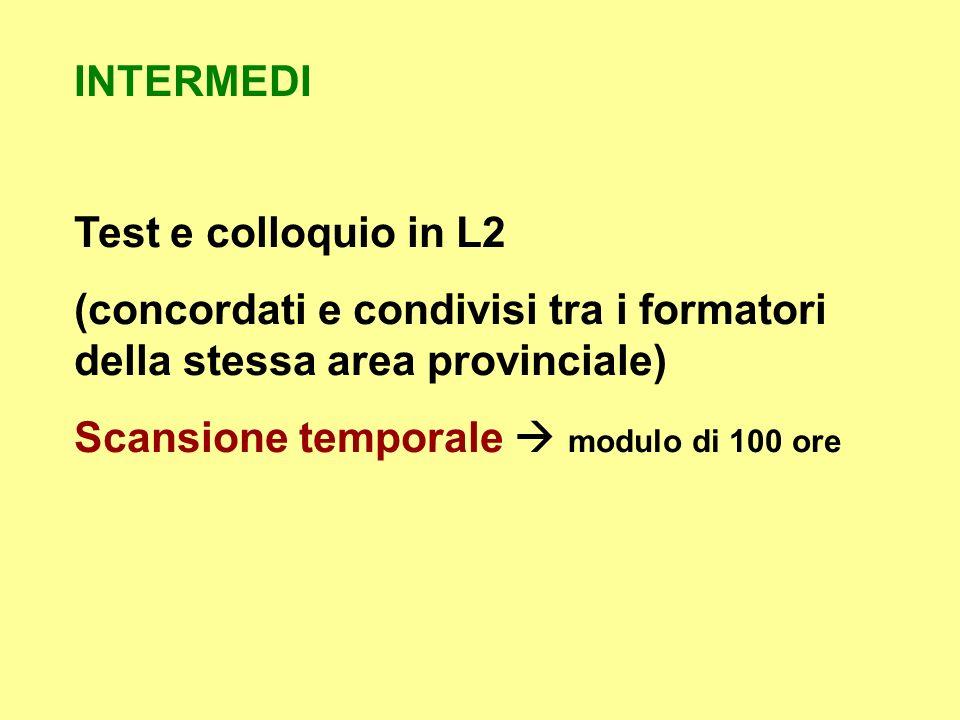 INTERMEDI Test e colloquio in L2. (concordati e condivisi tra i formatori della stessa area provinciale)