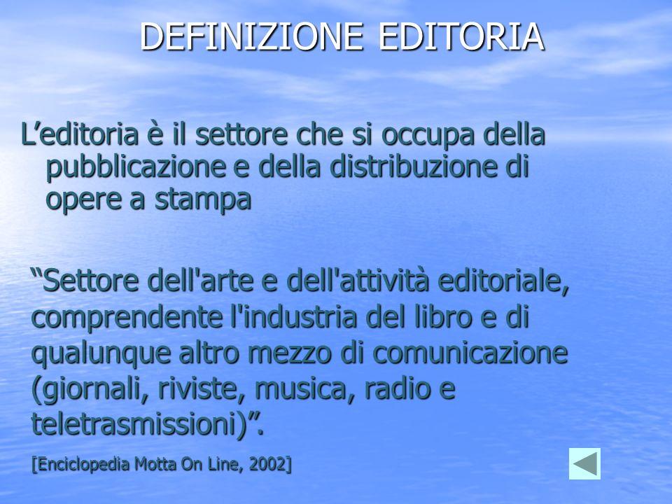 DEFINIZIONE EDITORIA L'editoria è il settore che si occupa della pubblicazione e della distribuzione di opere a stampa.