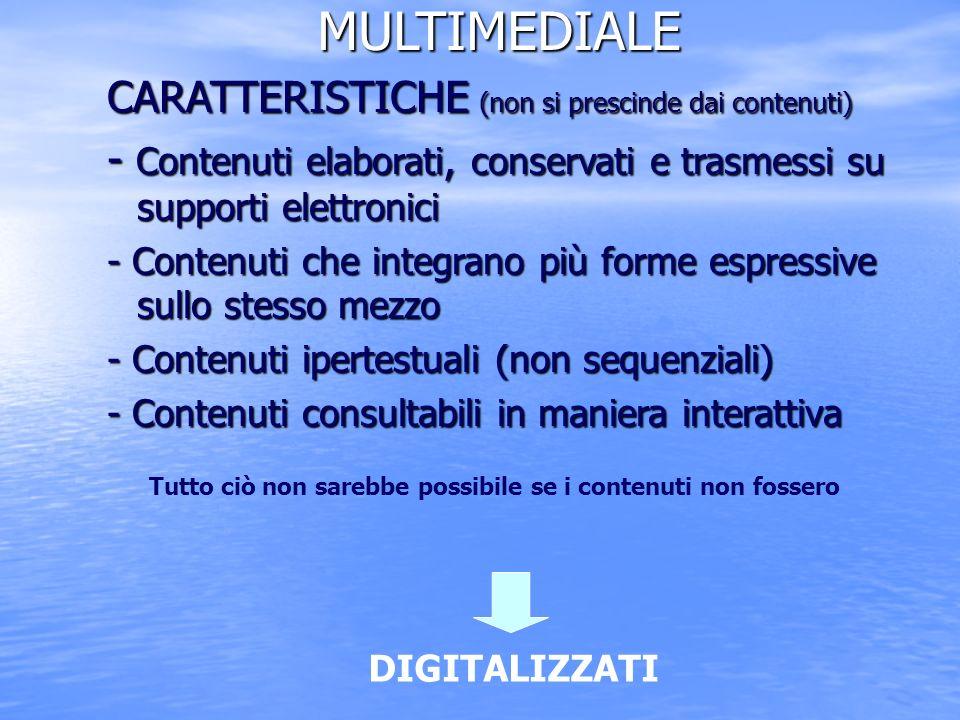 MULTIMEDIALE CARATTERISTICHE (non si prescinde dai contenuti)