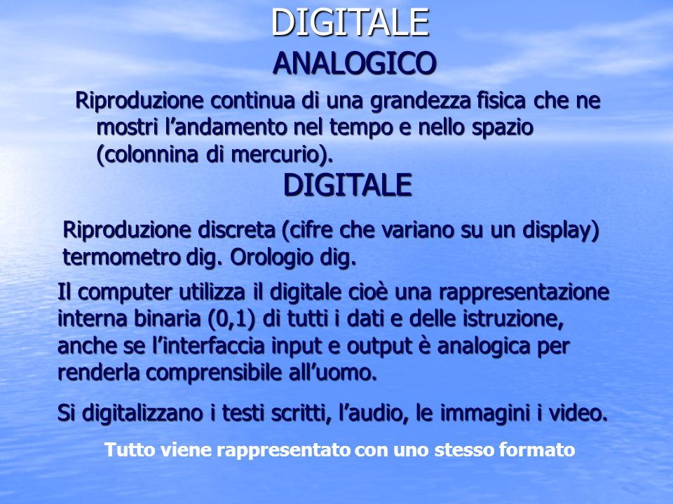 DIGITALE ANALOGICO DIGITALE