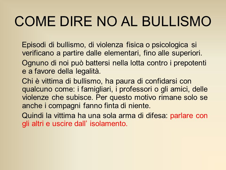 COME DIRE NO AL BULLISMO