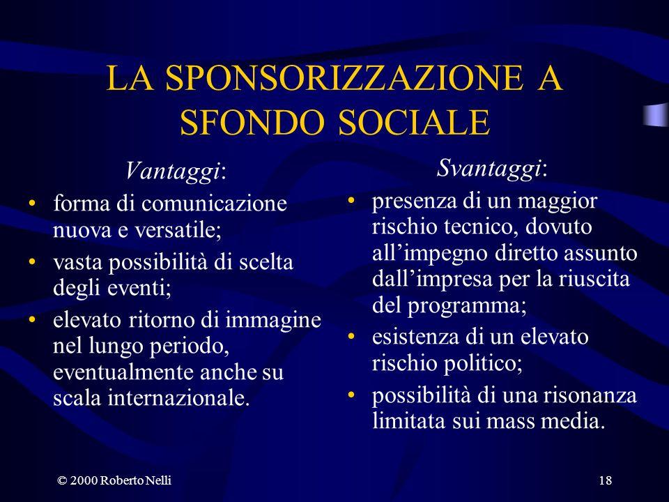LA SPONSORIZZAZIONE A SFONDO SOCIALE