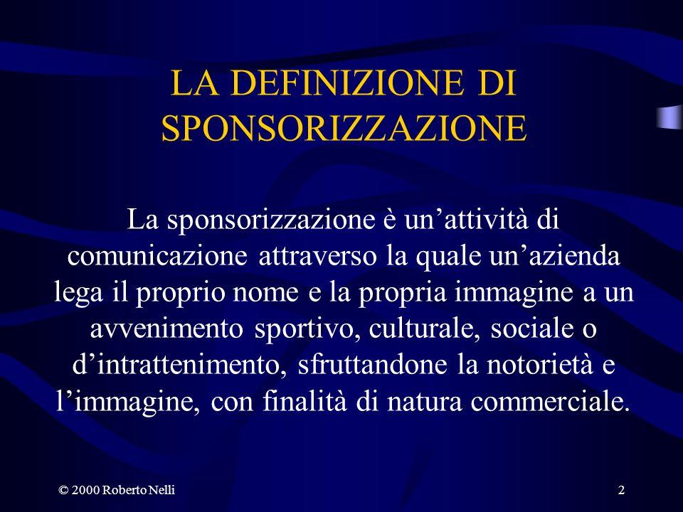 LA DEFINIZIONE DI SPONSORIZZAZIONE La sponsorizzazione è un'attività di comunicazione attraverso la quale un'azienda lega il proprio nome e la propria immagine a un avvenimento sportivo, culturale, sociale o d'intrattenimento, sfruttandone la notorietà e l'immagine, con finalità di natura commerciale.