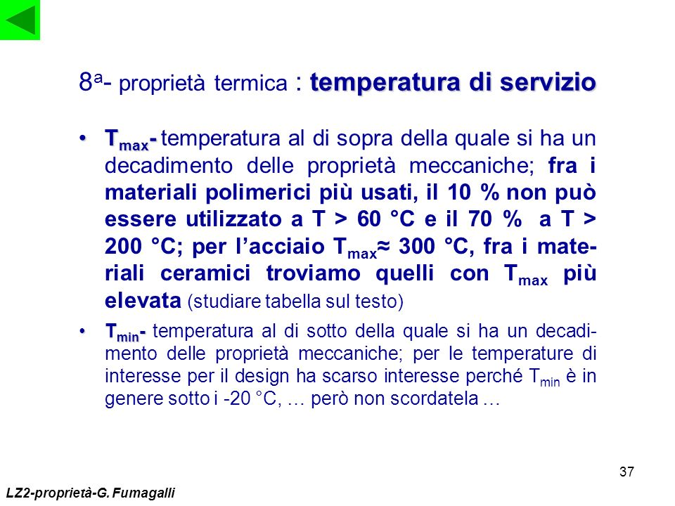 8a- proprietà termica : temperatura di servizio