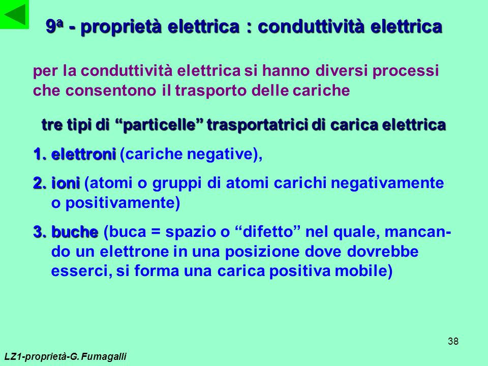 9a - proprietà elettrica : conduttività elettrica