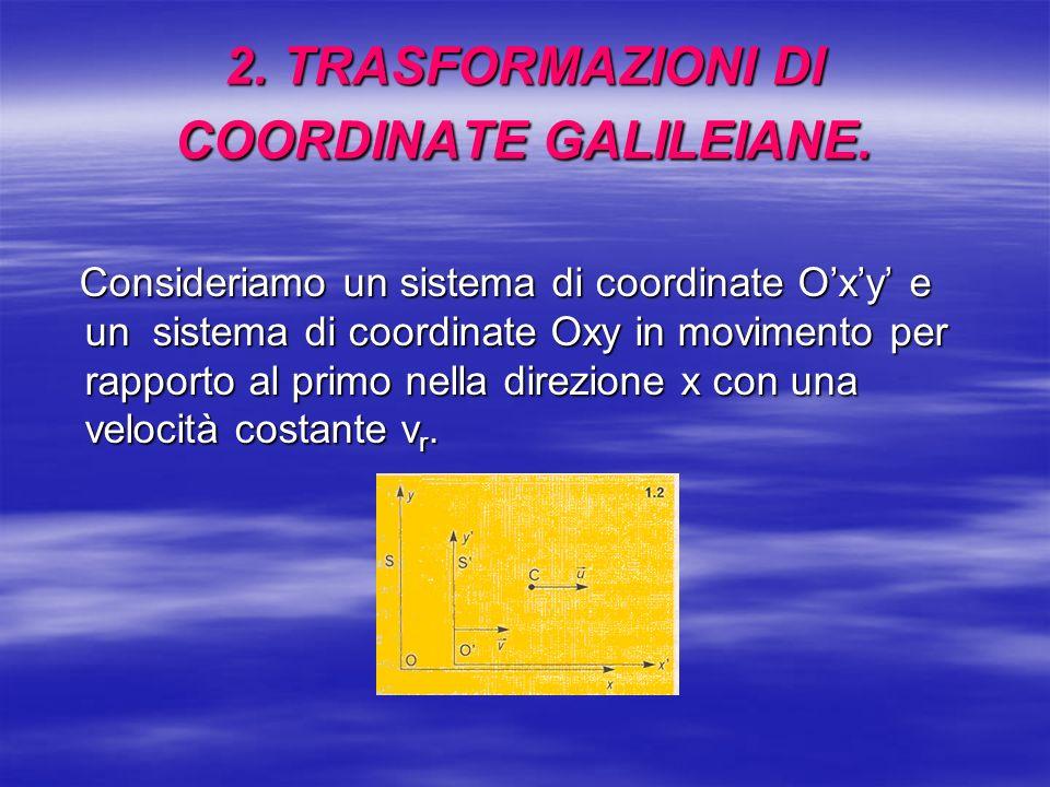 2. TRASFORMAZIONI DI COORDINATE GALILEIANE.