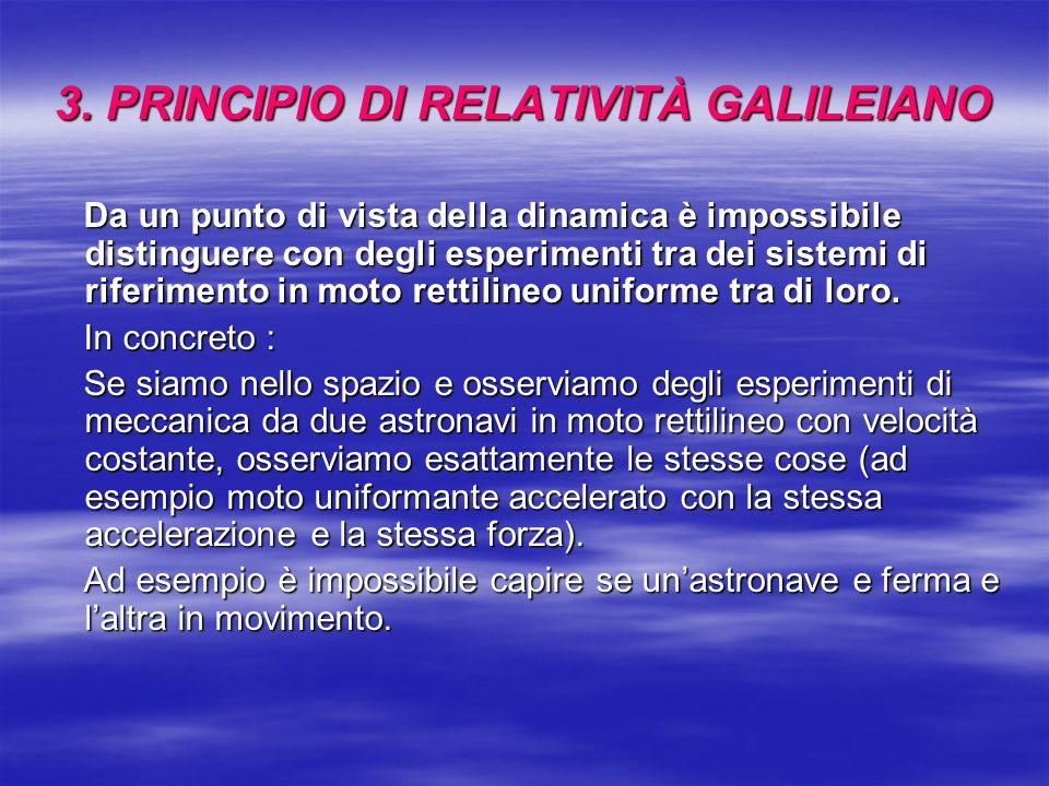 3. PRINCIPIO DI RELATIVITÀ GALILEIANO