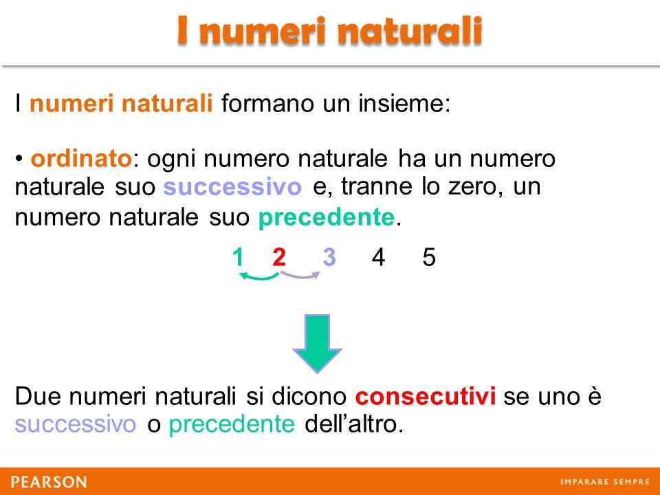 I numeri naturali I numeri naturali formano un insieme: