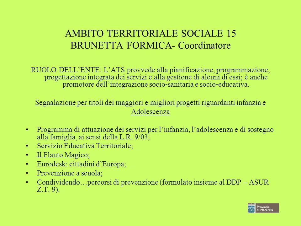 AMBITO TERRITORIALE SOCIALE 15 BRUNETTA FORMICA- Coordinatore