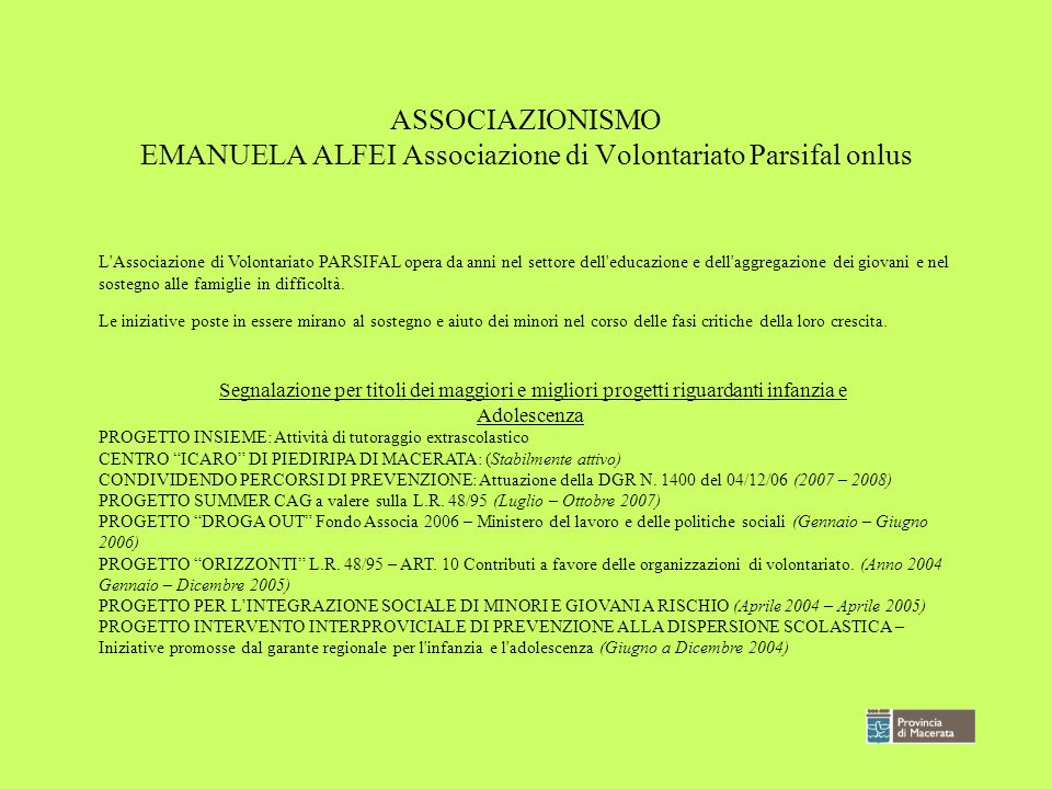 ASSOCIAZIONISMO EMANUELA ALFEI Associazione di Volontariato Parsifal onlus