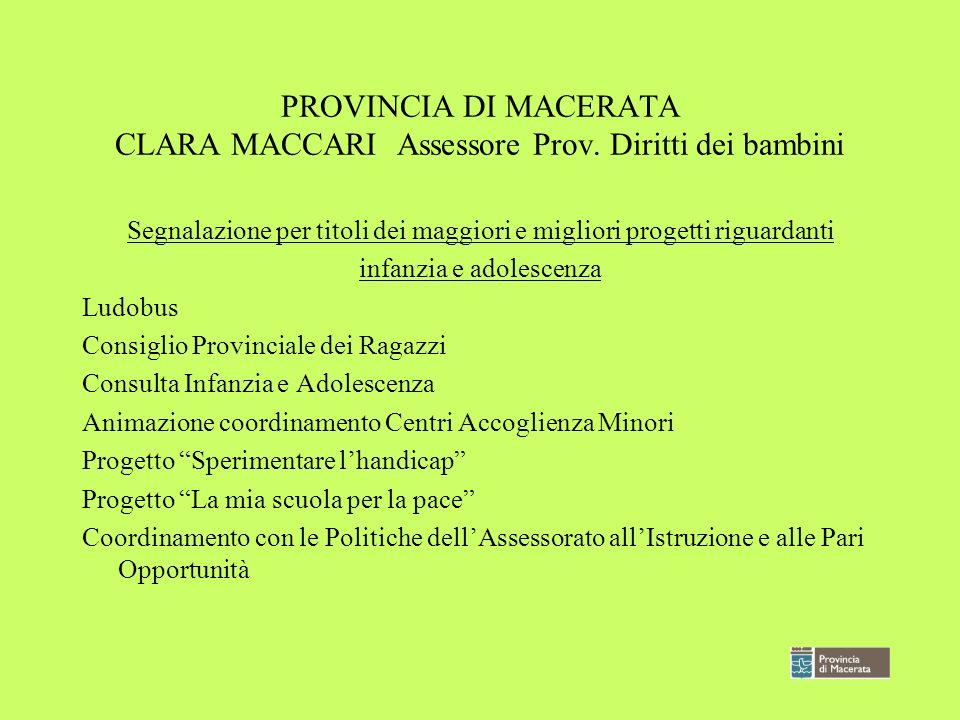 PROVINCIA DI MACERATA CLARA MACCARI Assessore Prov. Diritti dei bambini