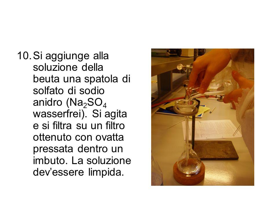 Si aggiunge alla soluzione della beuta una spatola di solfato di sodio anidro (Na2SO4 wasserfrei).