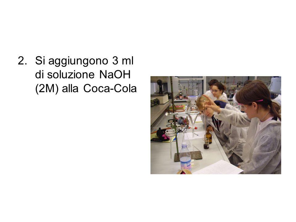 Si aggiungono 3 ml di soluzione NaOH (2M) alla Coca-Cola