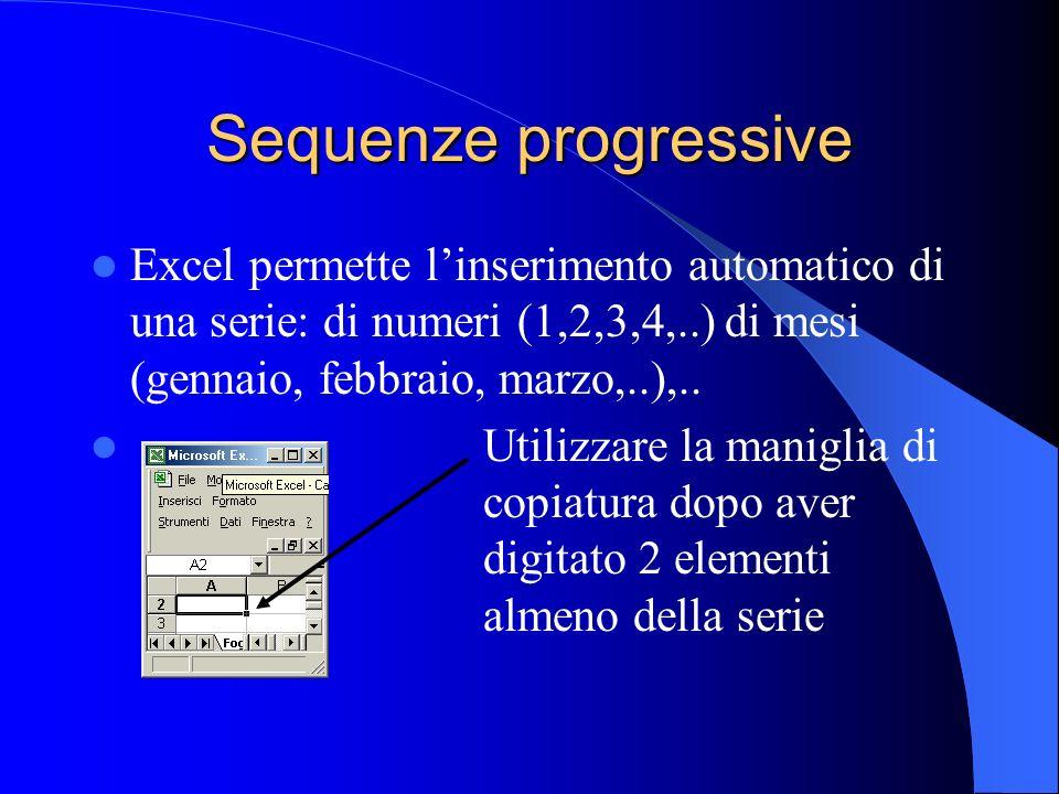 Sequenze progressive Excel permette l'inserimento automatico di una serie: di numeri (1,2,3,4,..) di mesi (gennaio, febbraio, marzo,..),..